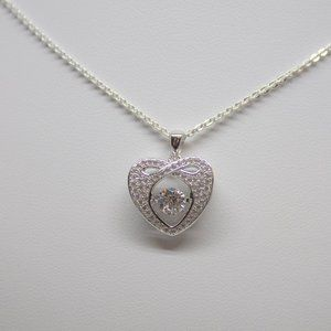 Sterling Silver Necklace Dancing Heart Pendant CZ